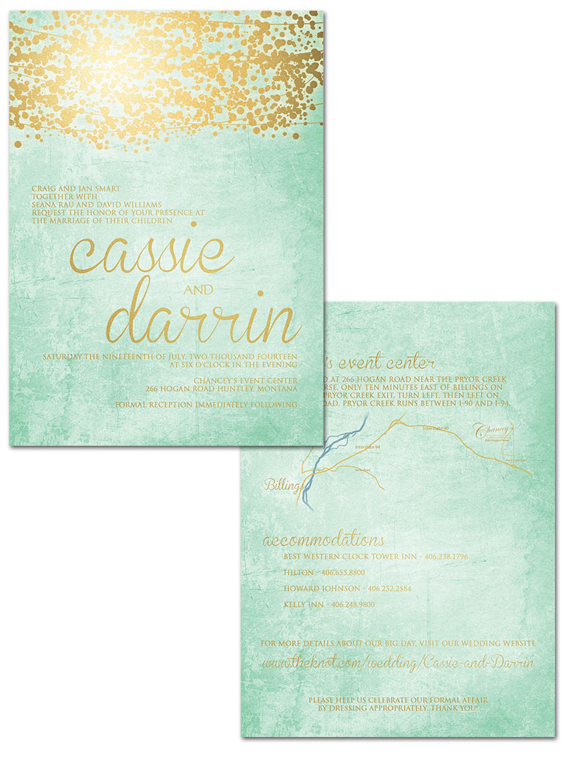 mint and gold wedding invites minted wedding invitations Mint Green And Gold Wedding Invitations